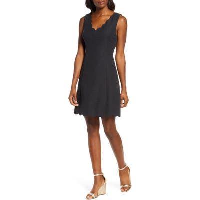 Lilly Pulitzer Sabeen Stretch Jacquard Fit & Flare Dress, Black