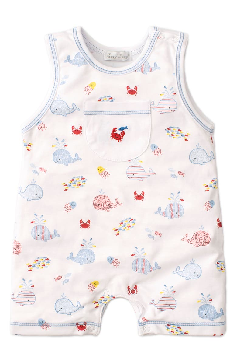 KISSY KISSY Whale Print Sleeveless Romper, Main, color, BLUE