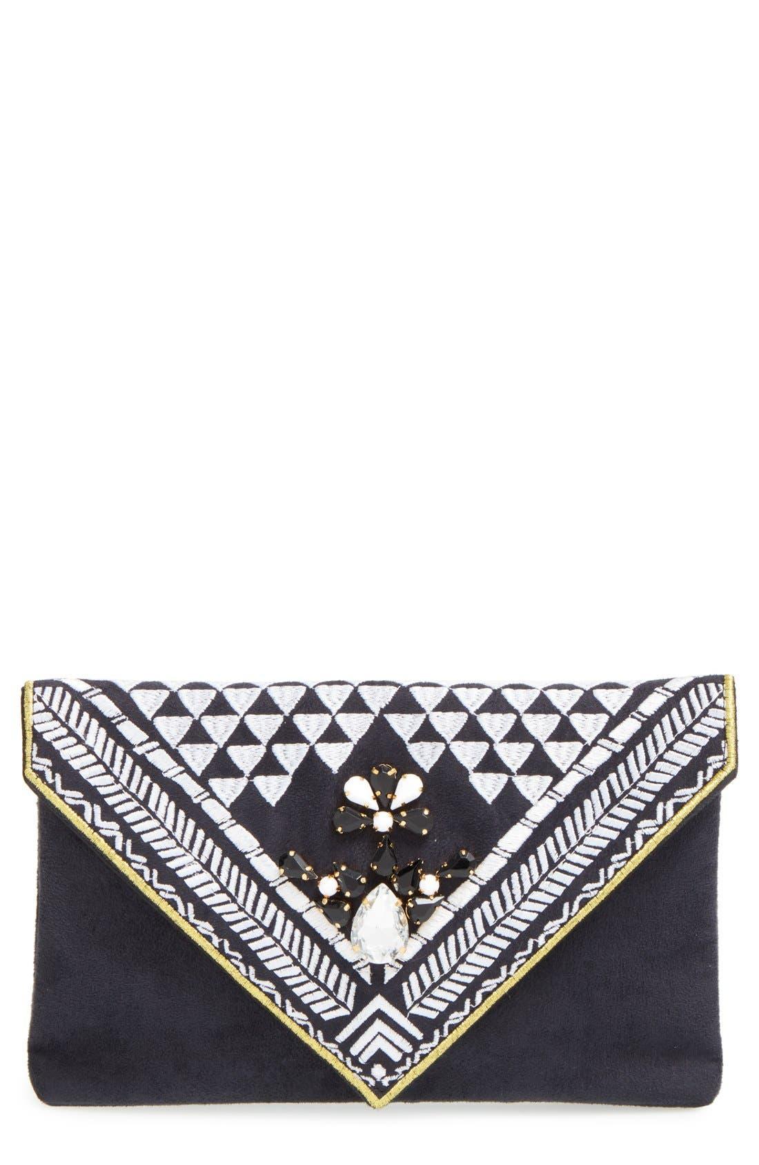'Micha' Embellished Velvet Envelope Clutch, Main, color, 001