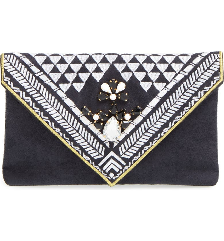 SHIRALEAH 'Micha' Embellished Velvet Envelope Clutch, Main, color, 001