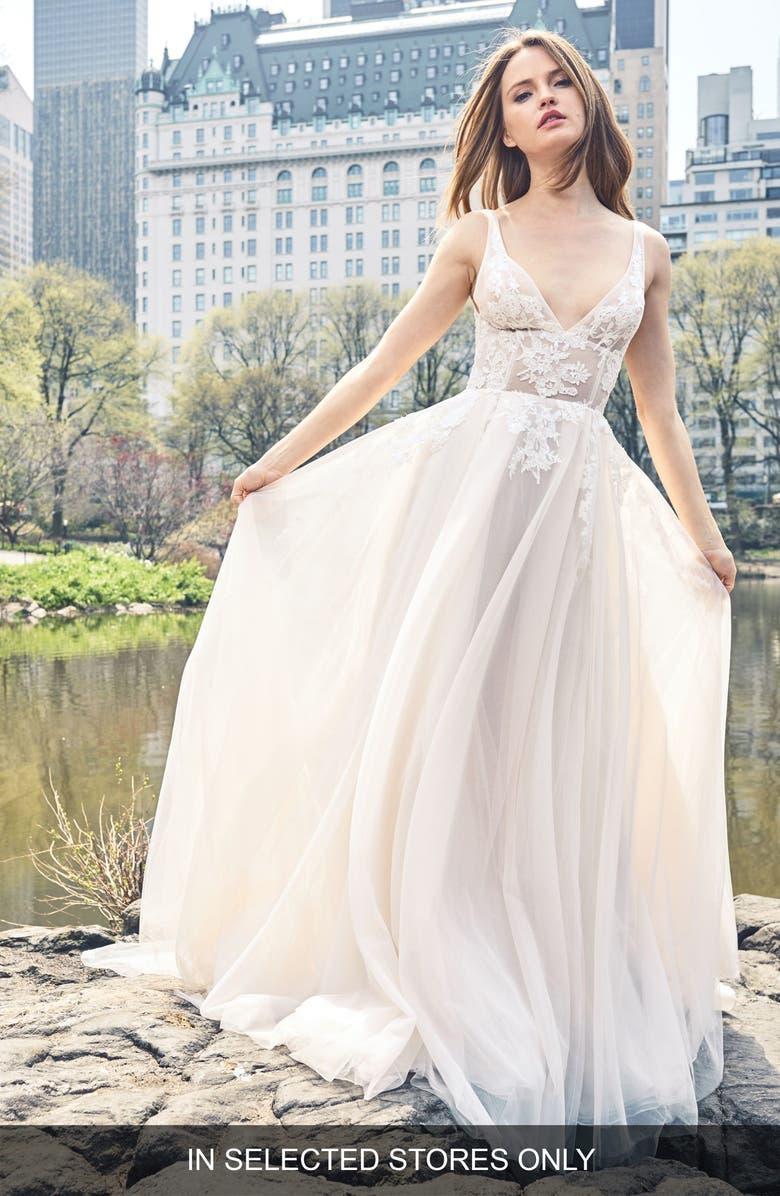BLISS MONIQUE LHUILLIER Lace Appliqué A-Line Gown, Main, color, SILK WHITE/BLUSH