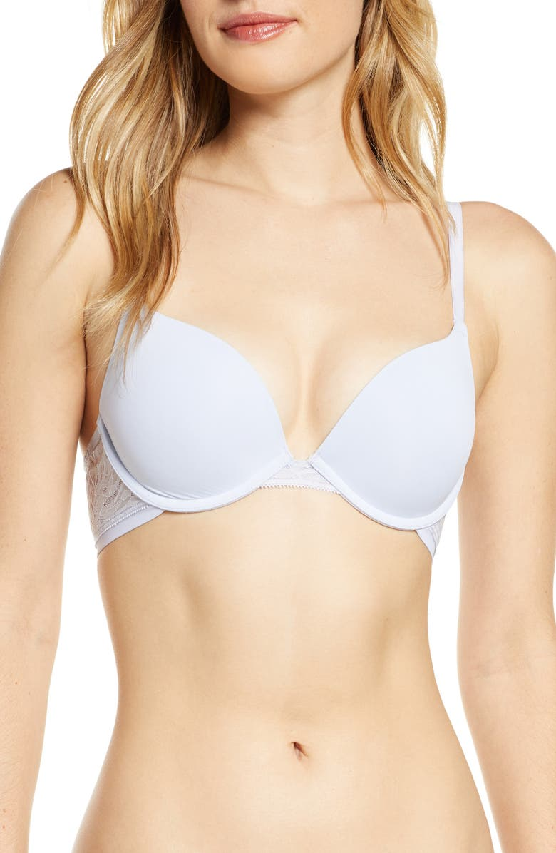 ON GOSSAMER Sleek Micro Lace Underwire Convertible Push-Up Bra, Main, color, BLUE ICE