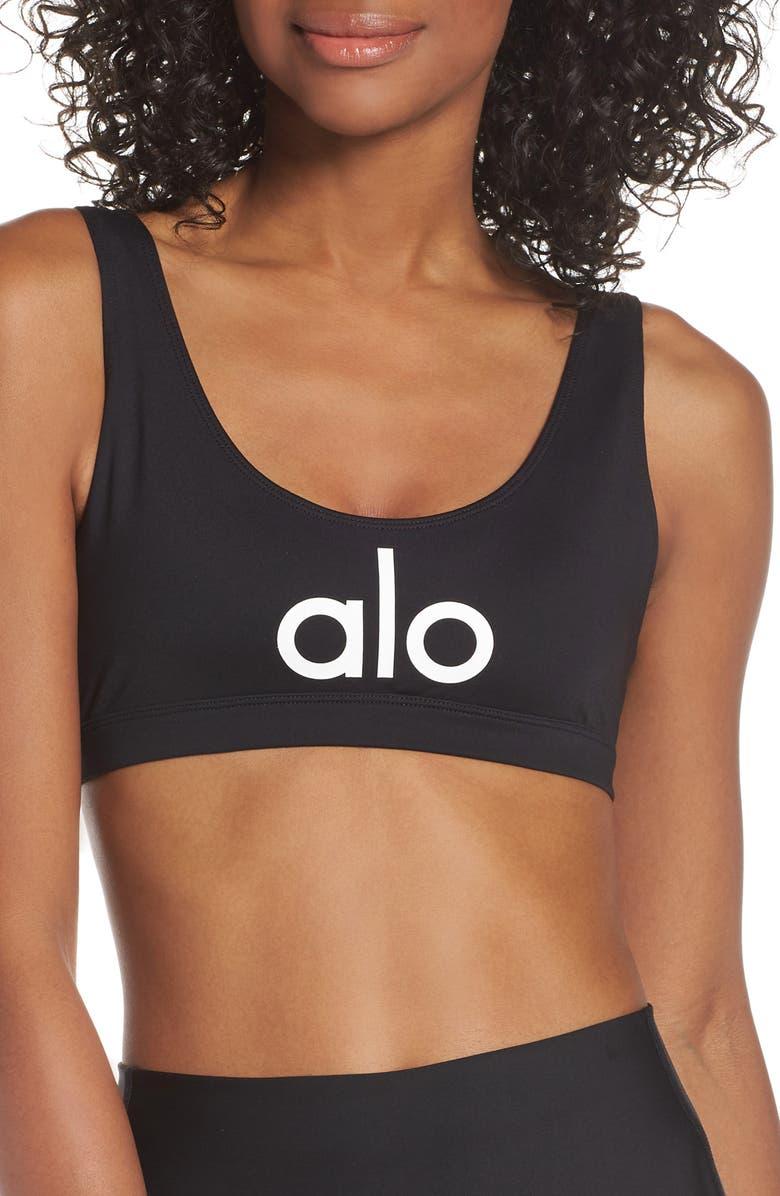 ALO Ambient Logo Sports Bra, Main, color, 003