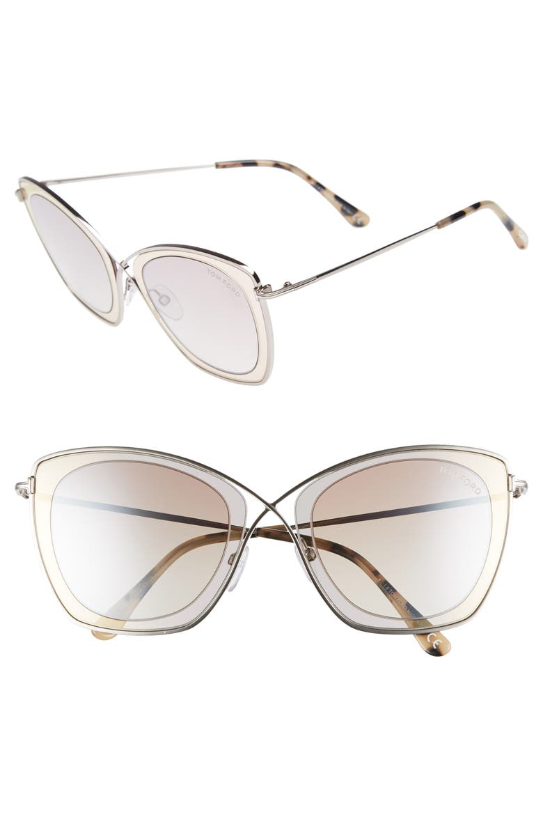 TOM FORD India 53mm Butterfly Sunglasses, Main, color, 200