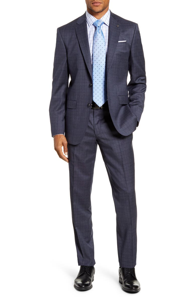 TED BAKER LONDON Jay Trim Fit Plaid Stretch Wool Suit, Main, color, SLATE BLUE