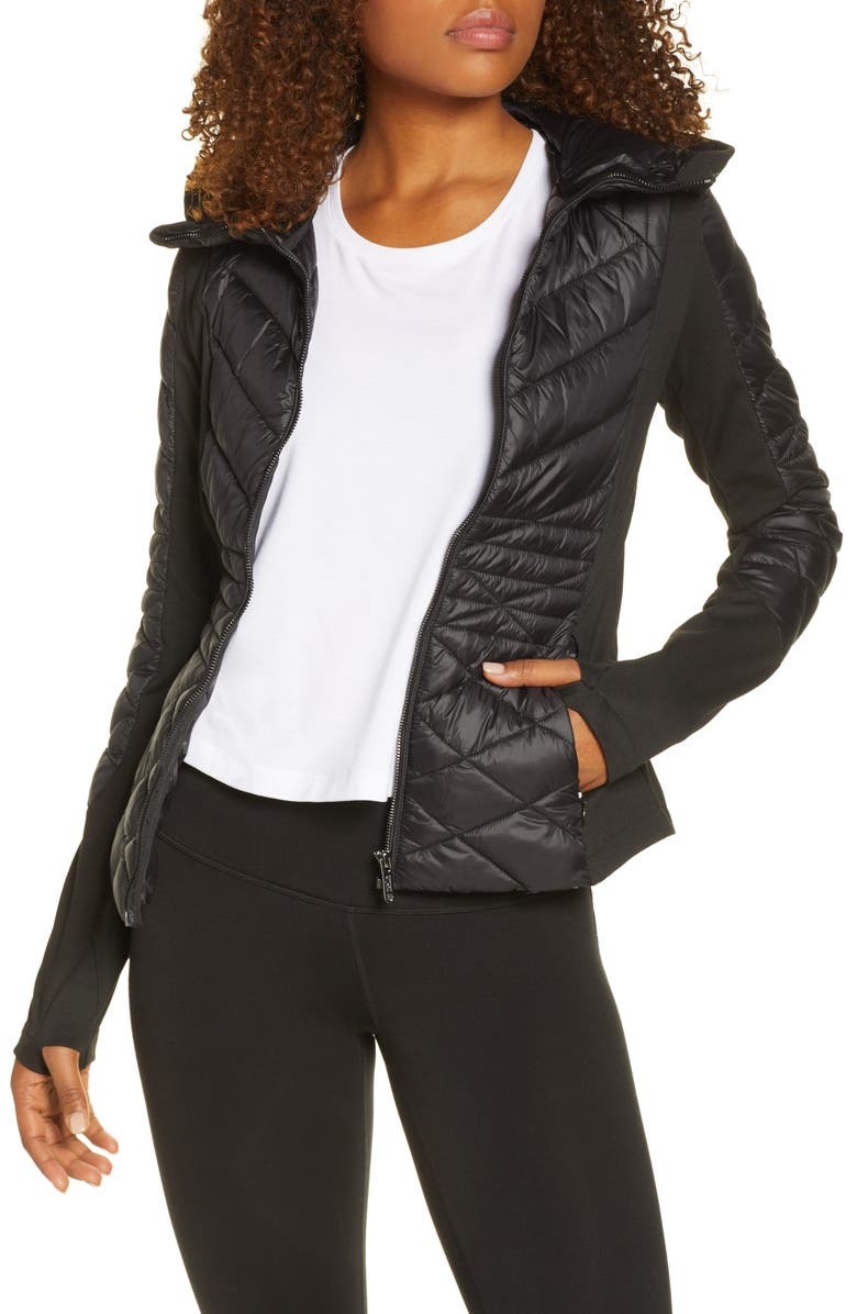 ZELLA Quilted Performance Jacket, Main, color, BLACK