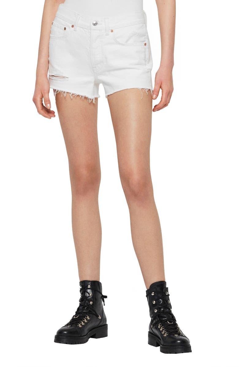 ALLSAINTS Mai Ripped Denim Shorts, Main, color, WHITE
