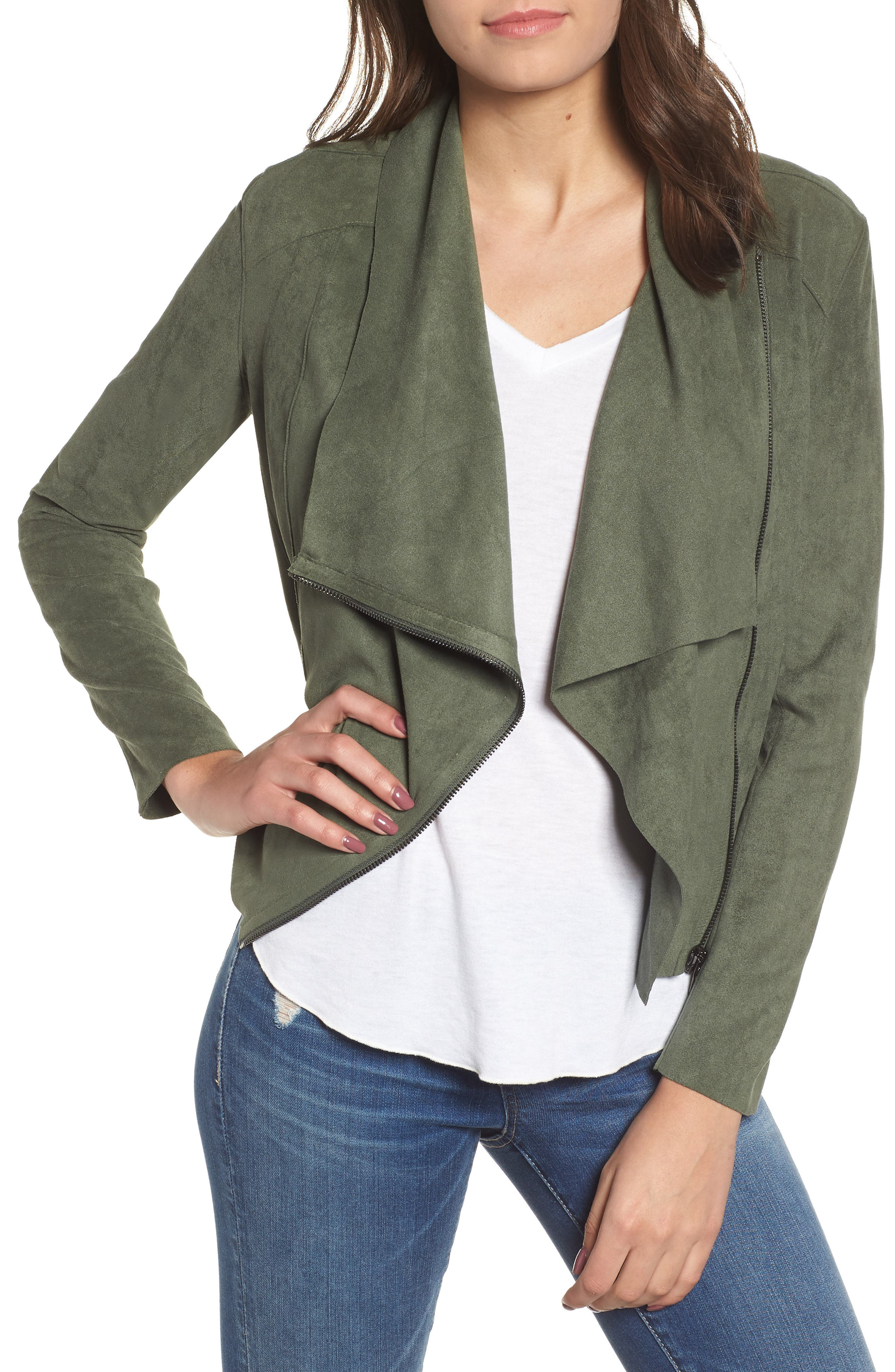 Drape Front Faux Suede Jacket, Main, color, OLIVE