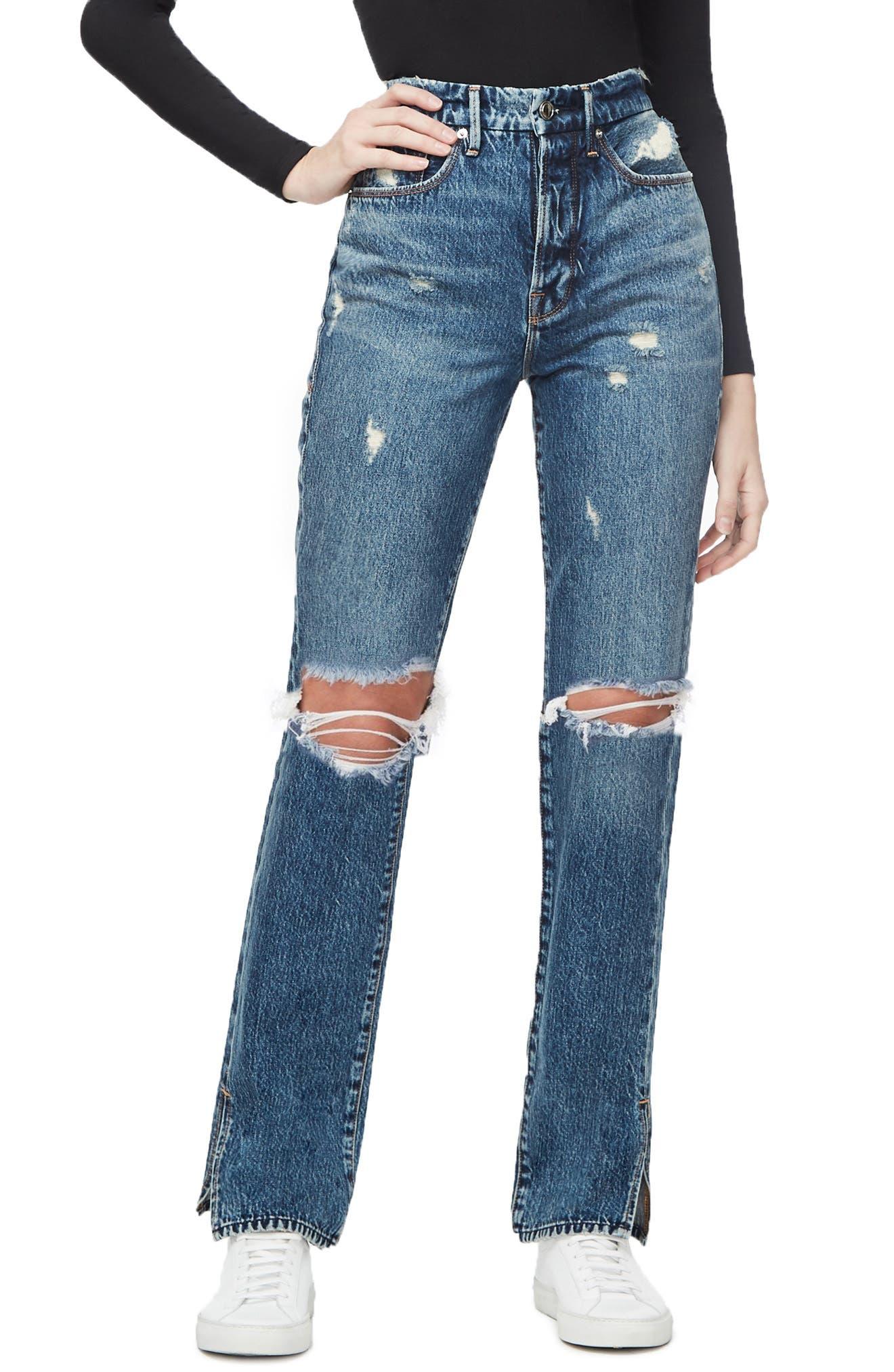 Good American Good Boy High Rise Ripped Boyfriend Jeans (Blue 177) (Regular & Plus Size)