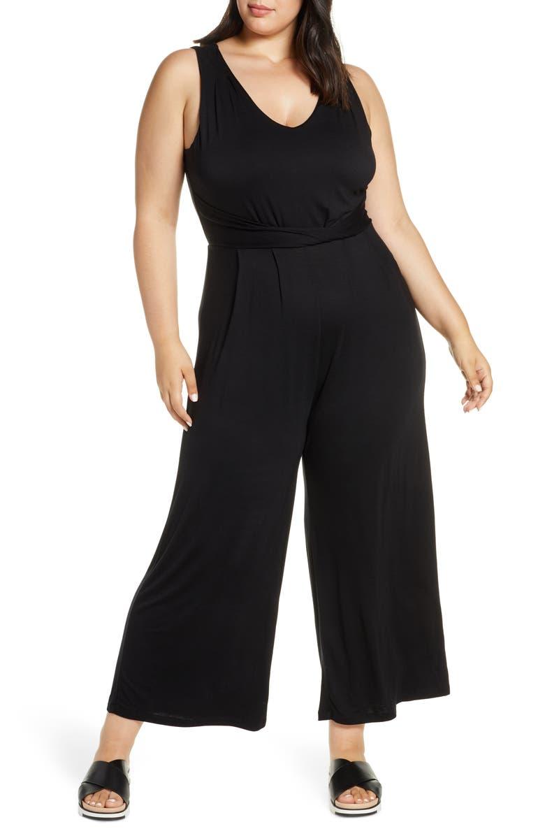 BOBEAU Sleeveless Wide Leg Jumpsuit, Main, color, BLACK