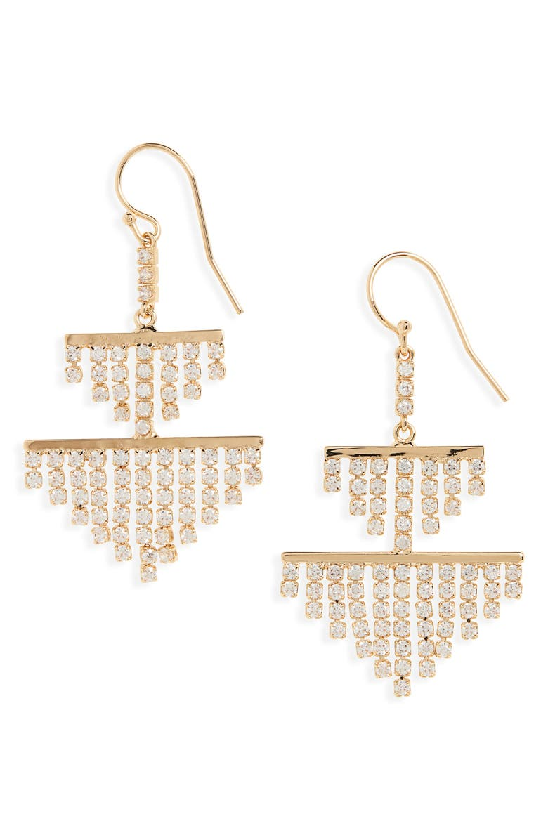 NORDSTROM Cubic Zirconia Chandelier Earrings, Main, color, CLEAR- GOLD