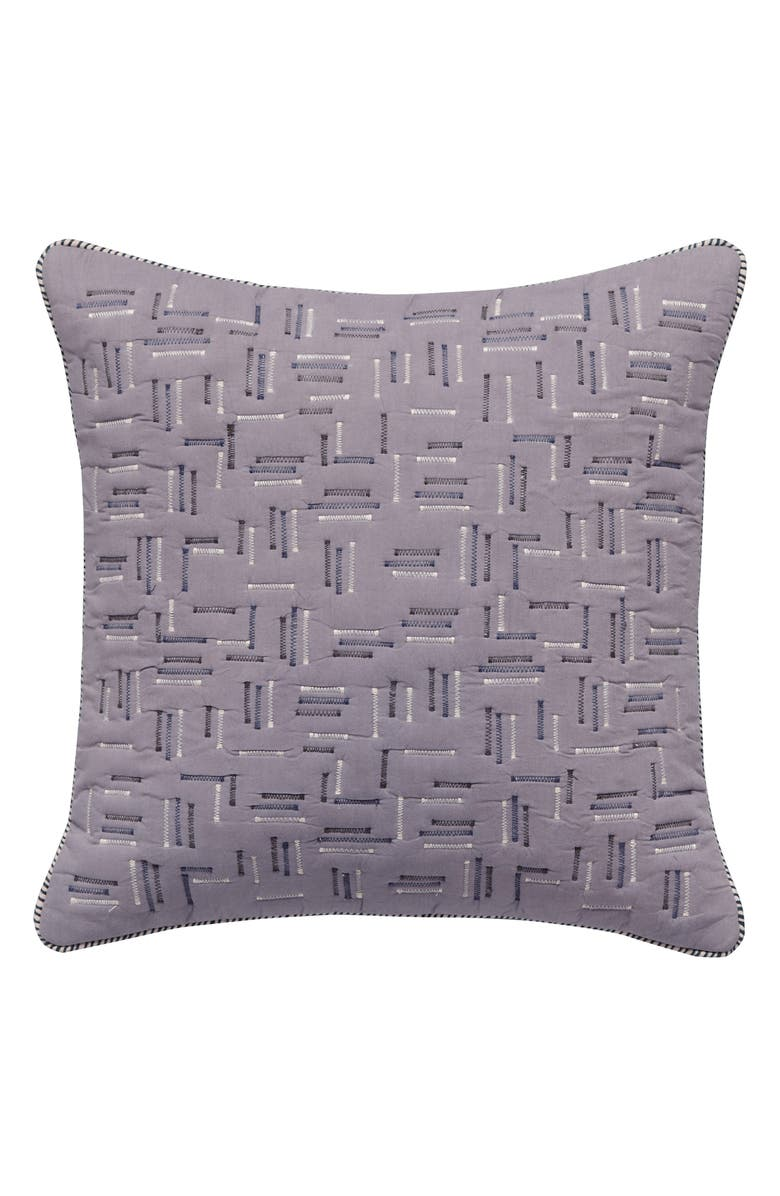 SPLENDID HOME DECOR Zigzag Stitch Accent Pillow, Main, color, GREY-BLUE