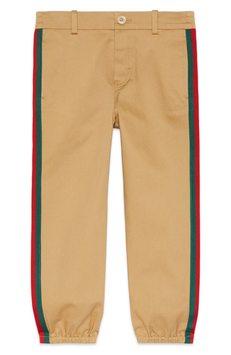 GUCCI Stripe Stretch Gabardine Cotton Pants, Main, color, SATURN