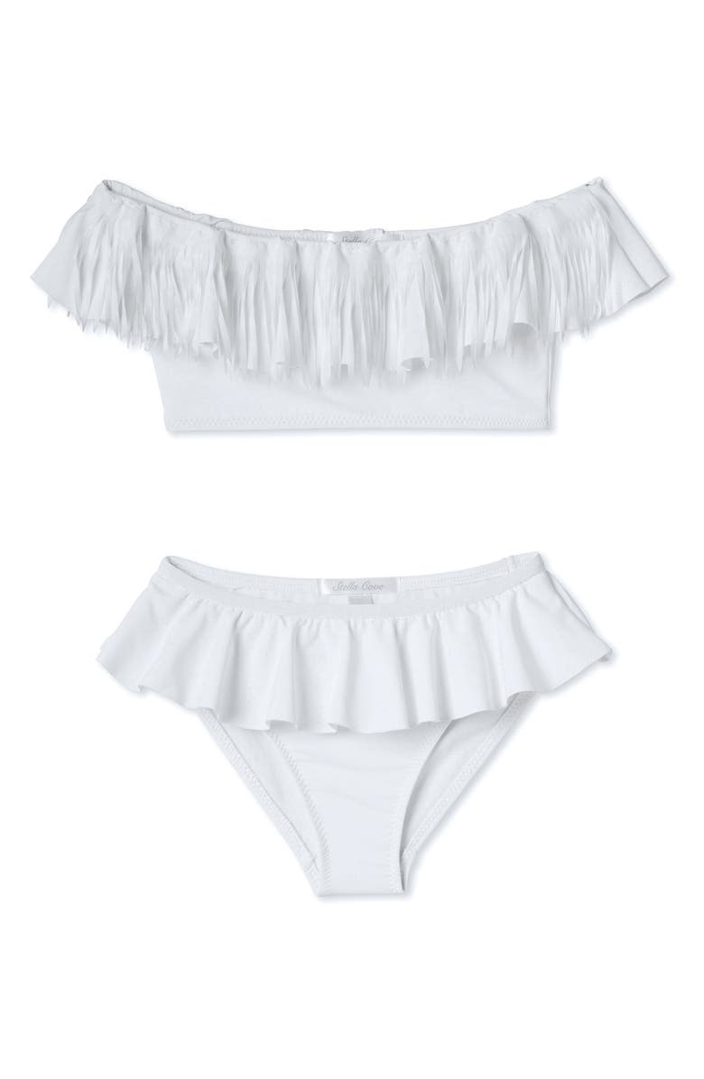 STELLA COVE White Fringe Two Piece Swimsuit, Main, color, WHITE