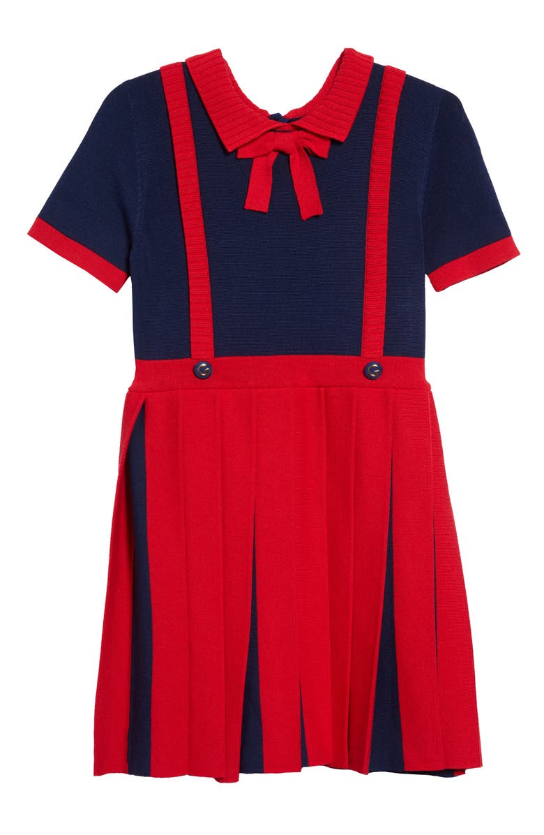 GUCCI Pleated Dress, Main, color, RED/ BLUE