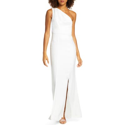 Chi Chi London Emerson One-Shoulder Satin Trumpet Gown, White