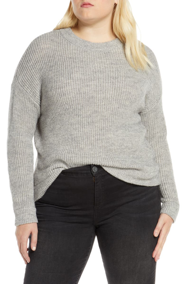 VERO MODA Imagine Crewneck Sweater, Main, color, LIGHT GREY MELANGE