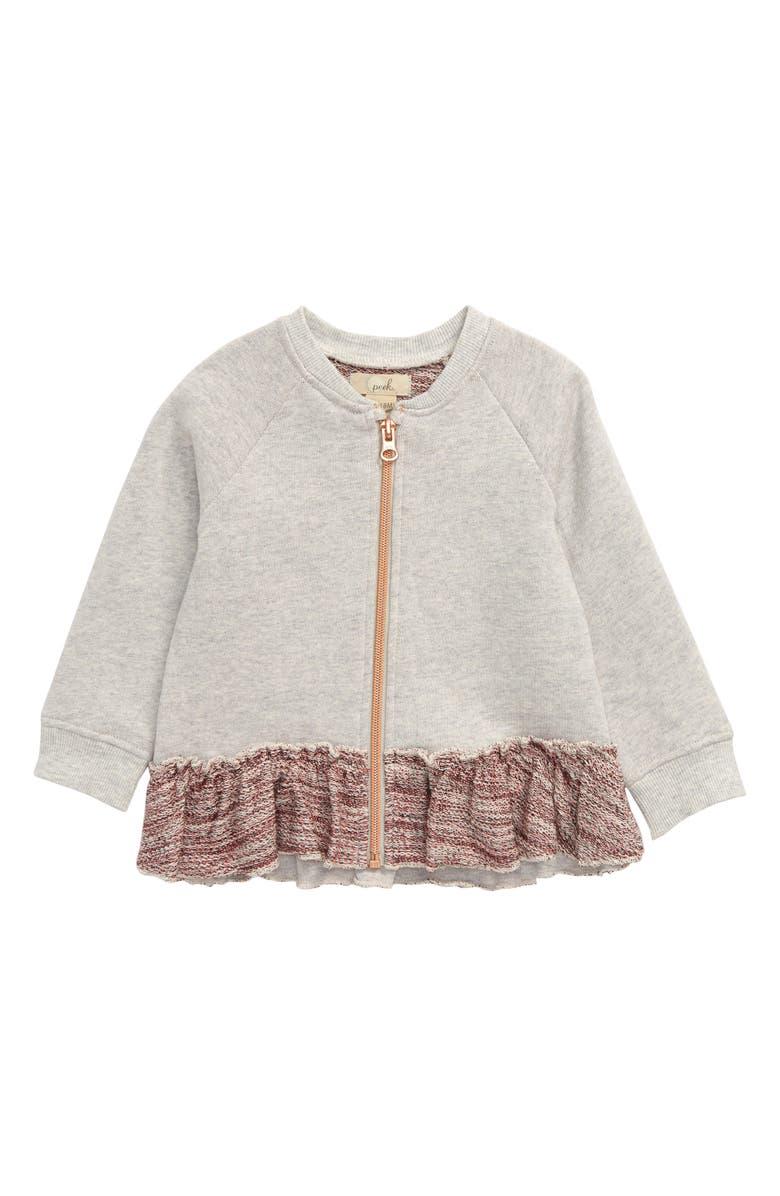 PEEK ESSENTIALS Front Zip Sweatshirt, Main, color, GREY HEATHER