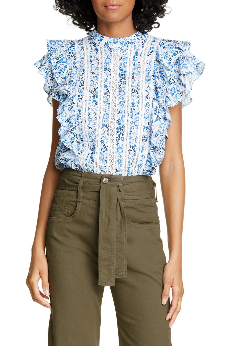VERONICA BEARD Sol Floral Ruffle Top, Main, color, WHITE MULTI