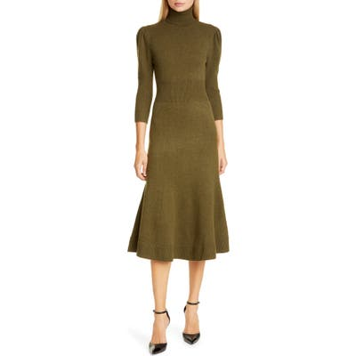 Michael Kors Collection Puff Sleeve Cashmere Sweater Dress, Green