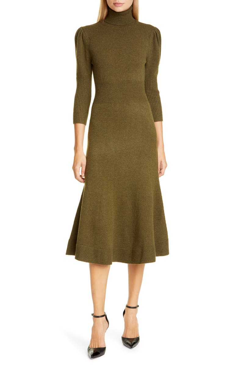 MICHAEL KORS COLLECTION Puff Sleeve Cashmere Sweater Dress, Main, color, SPRUCE