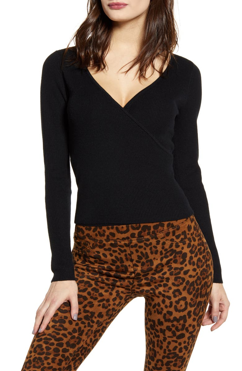 LEITH Rib Wrap Sweater, Main, color, BLACK
