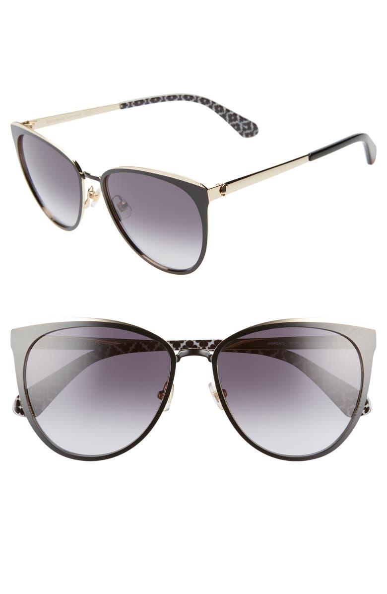 KATE SPADE NEW YORK jabreas 57mm cat eye sunglasses, Main, color, BLACK/ BLUE