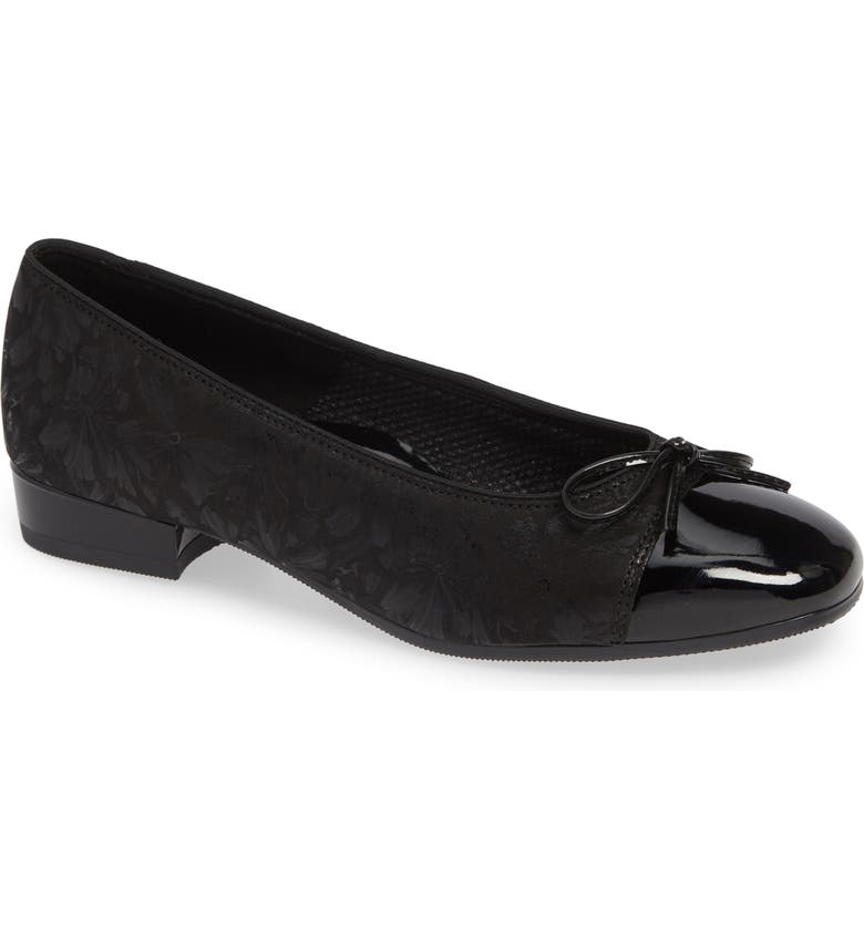 ARA 'Bel' Cap Toe Pump, Main, color, BLACK DRAGONFLY LEATHER
