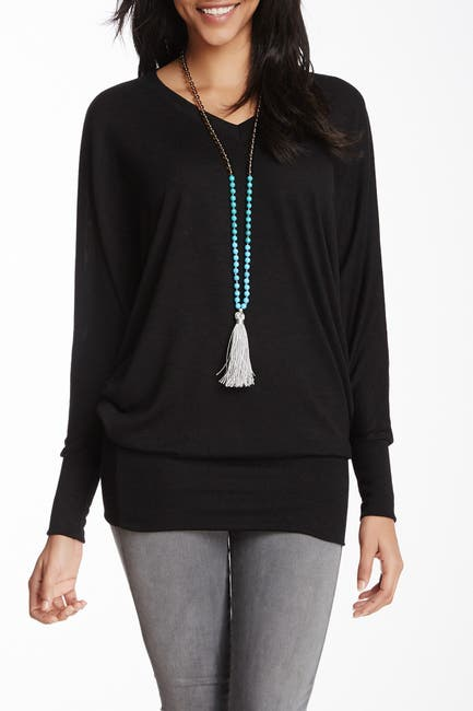 Image of Go Couture V-Neck Dolman Sleeve Pullover