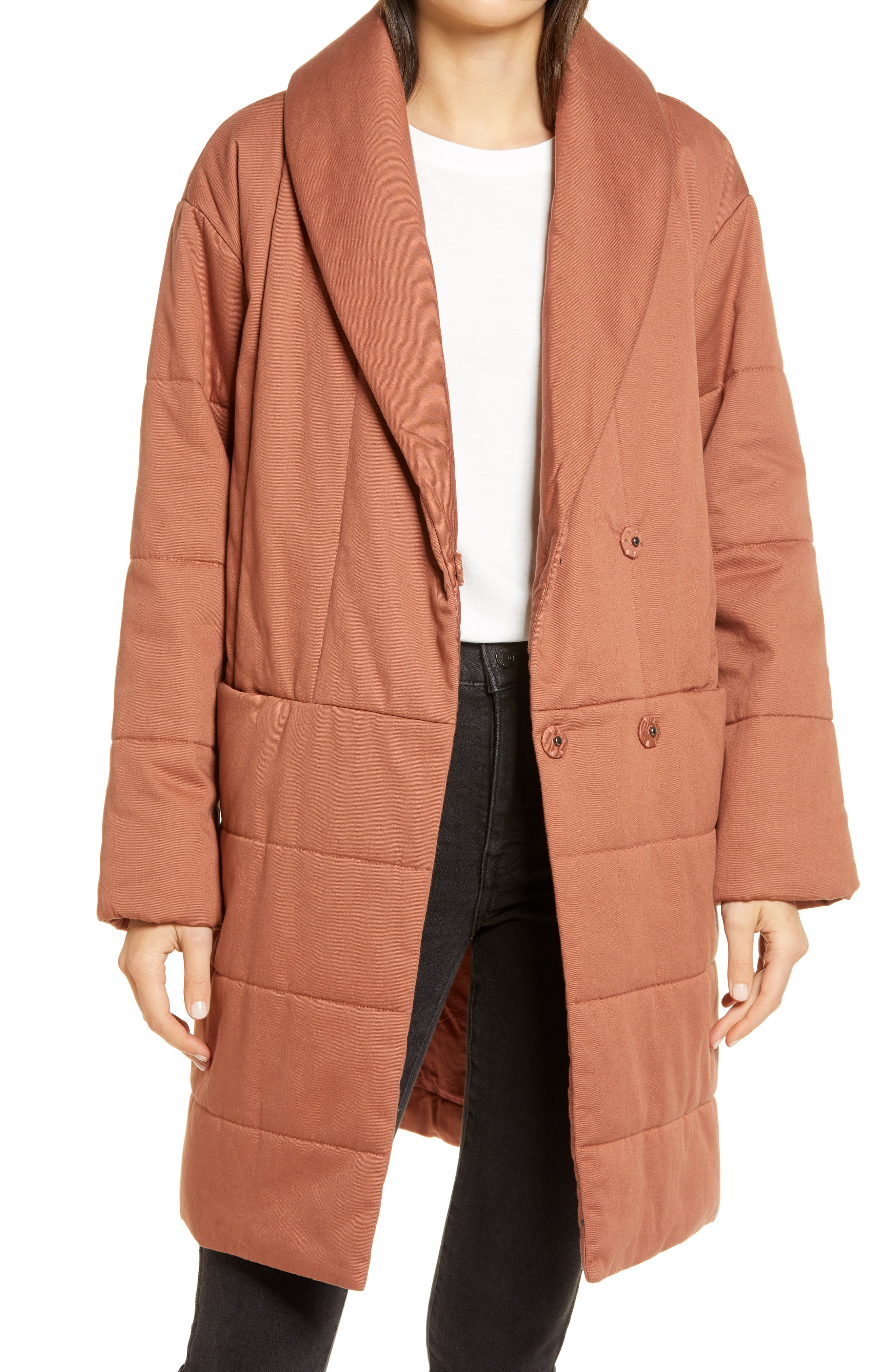 Cozy and quilted, this wrap coat is padded with eco-friendly PrimaLoft insulation, a warm-as-down alternative made of 100% recycled content. One jacket = five plastic bottles. Style Name: Madewell Dumont Quilted Coat. Style Number: 6120108. Available in stores.