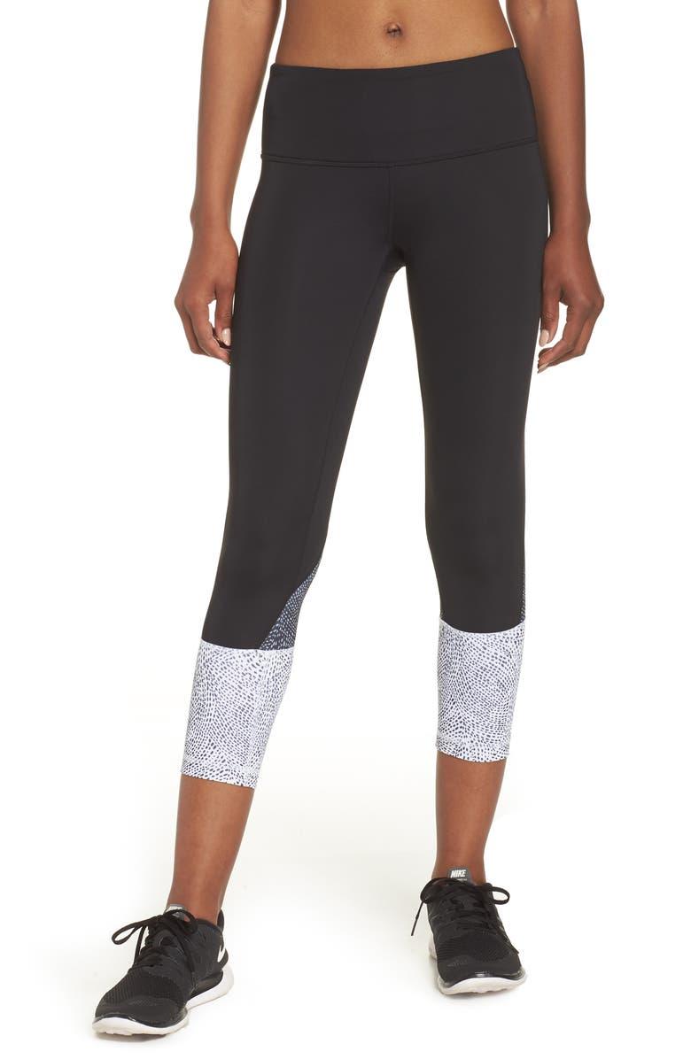 ZELLA Constellation Print Crop Leggings, Main, color, BLACK DESERT PEARL PRINT