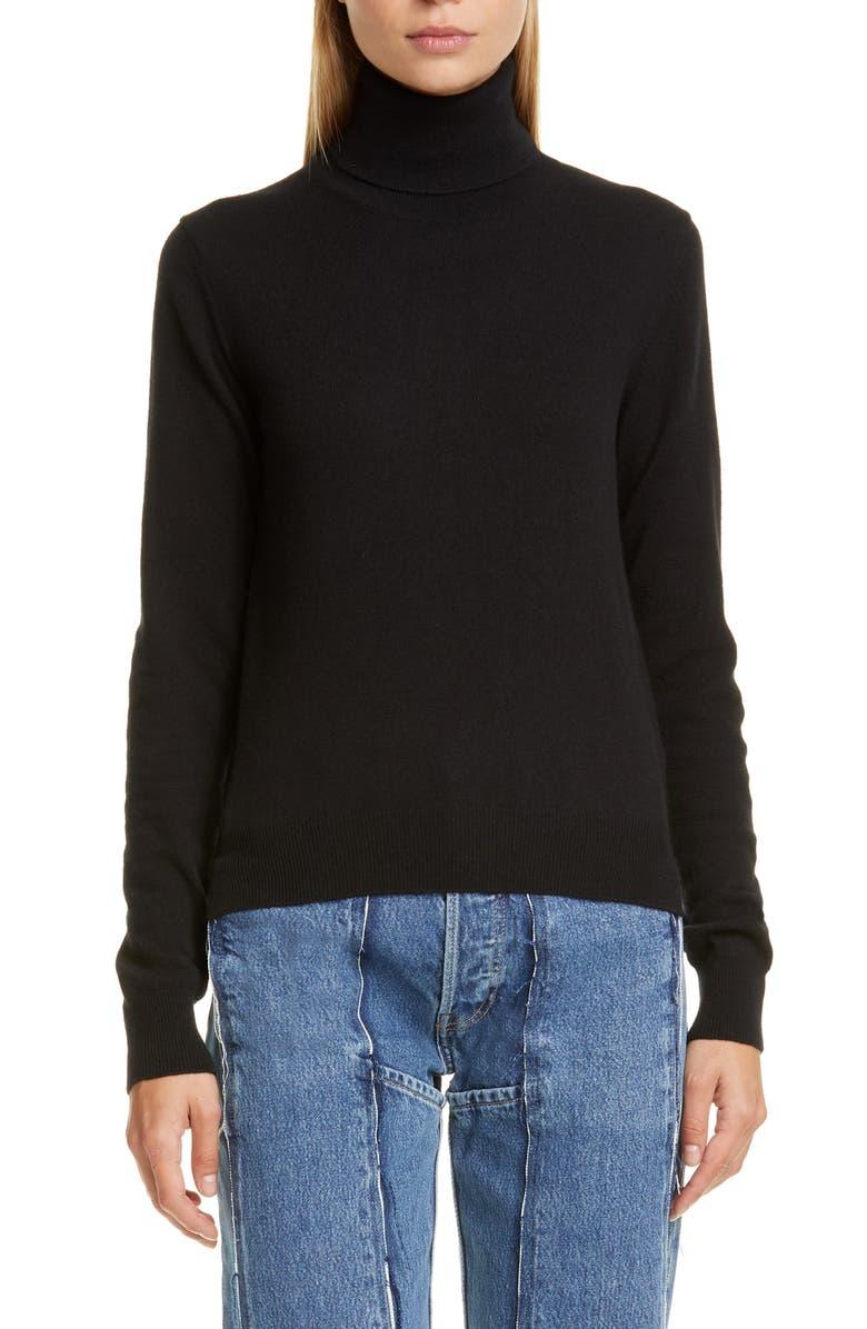 MAISON MARGIELA Elbow Patch Wool Turtleneck Sweater, Main, color, BLACK