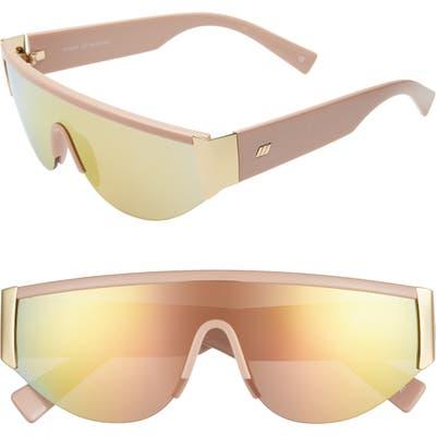 Le Specs Viper 130Mm Shield Sunglasses - Blush Gold/ Bass Mirror
