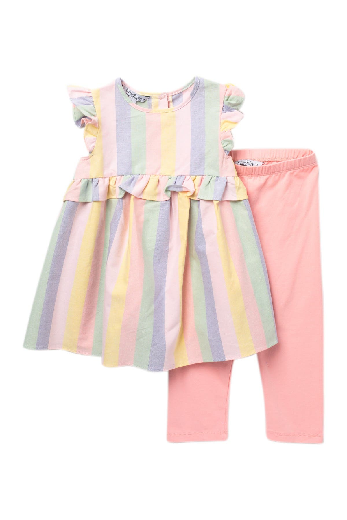 Image of Pastourelle by Pippa and Julie Striped 2-Piece Top & Leggings Set