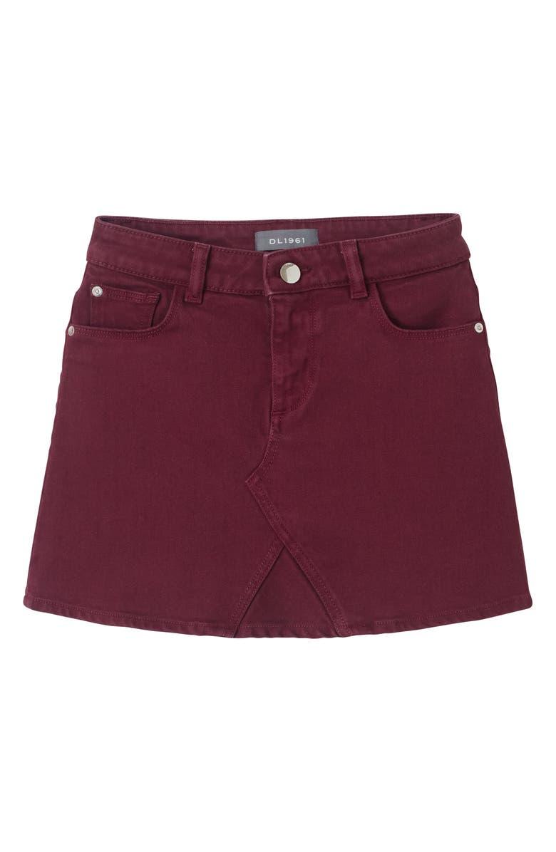 DL1961 Burgundy Denim Skirt, Main, color, CARMINE