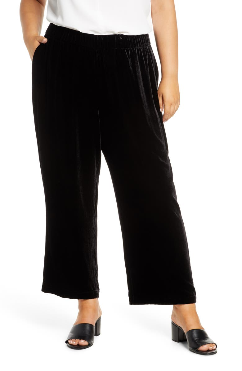 EILEEN FISHER Wide Velvet Ankle Pants, Main, color, BLACK