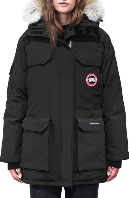 Canada Goose Expedition Hooded Down Parka With Genuine Coyote Fur Trim In Black