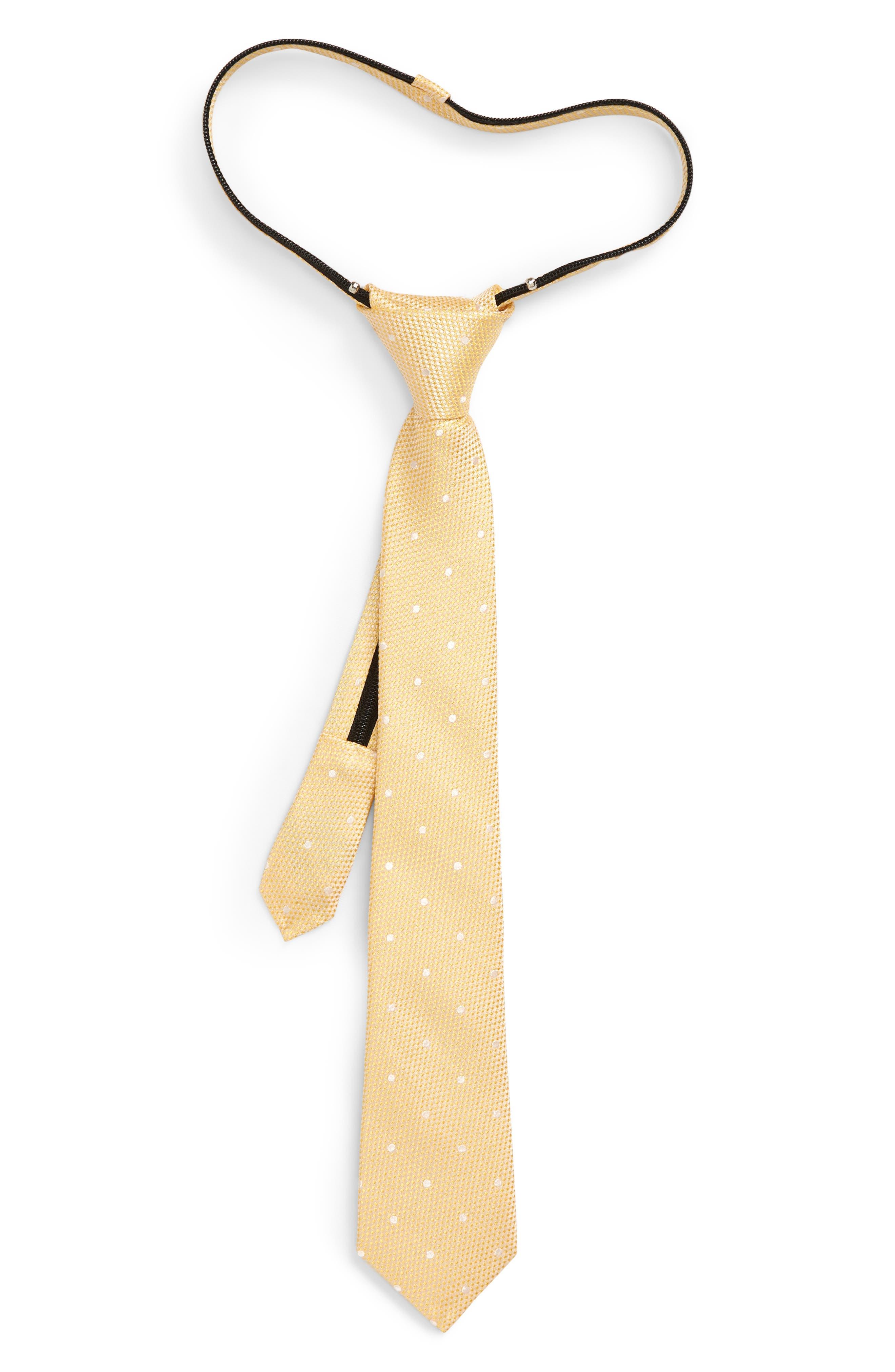 Boys Nordstrom Connor Dot Zip Silk Tie Size Big Boy  Yellow