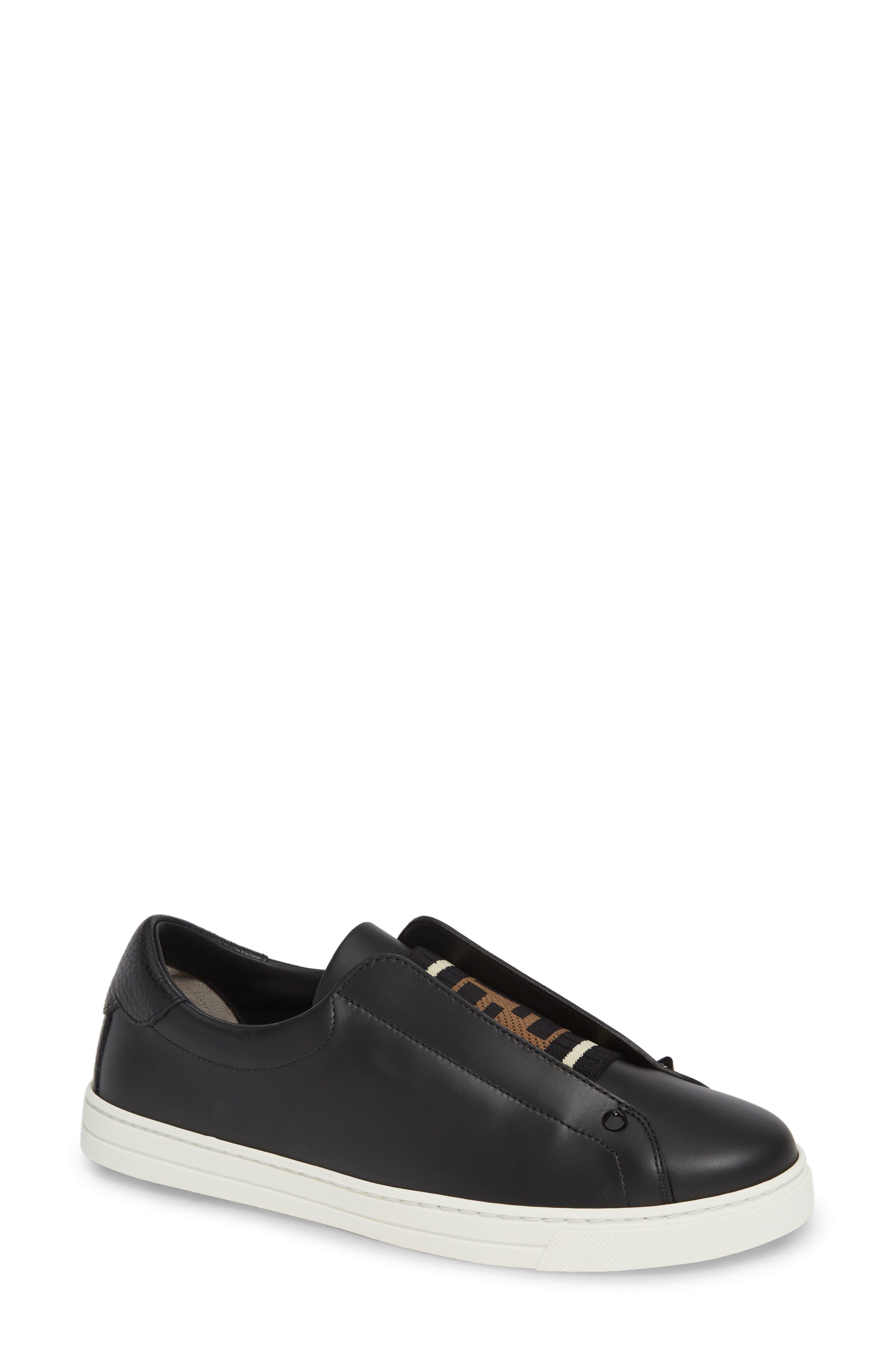 Fendi Rockoclick Knit Logo Slip-On Sneaker - Black