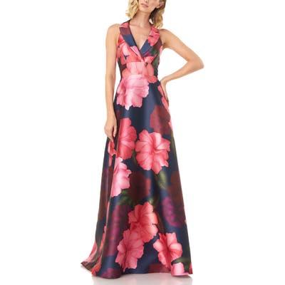 Kay Unger Carolina Floral Mikado Gown, Pink