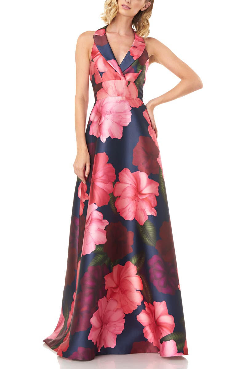 KAY UNGER Carolina Floral Mikado Gown, Main, color, 684