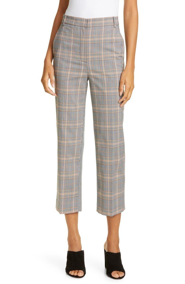 TIBI Mixed Check Crop Pants, Main, color, BLACK MULTI