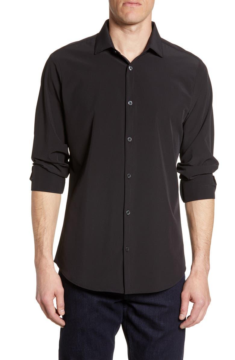 MIZZEN+MAIN Dean Trim Fit Performance Shirt, Main, color, BLACK