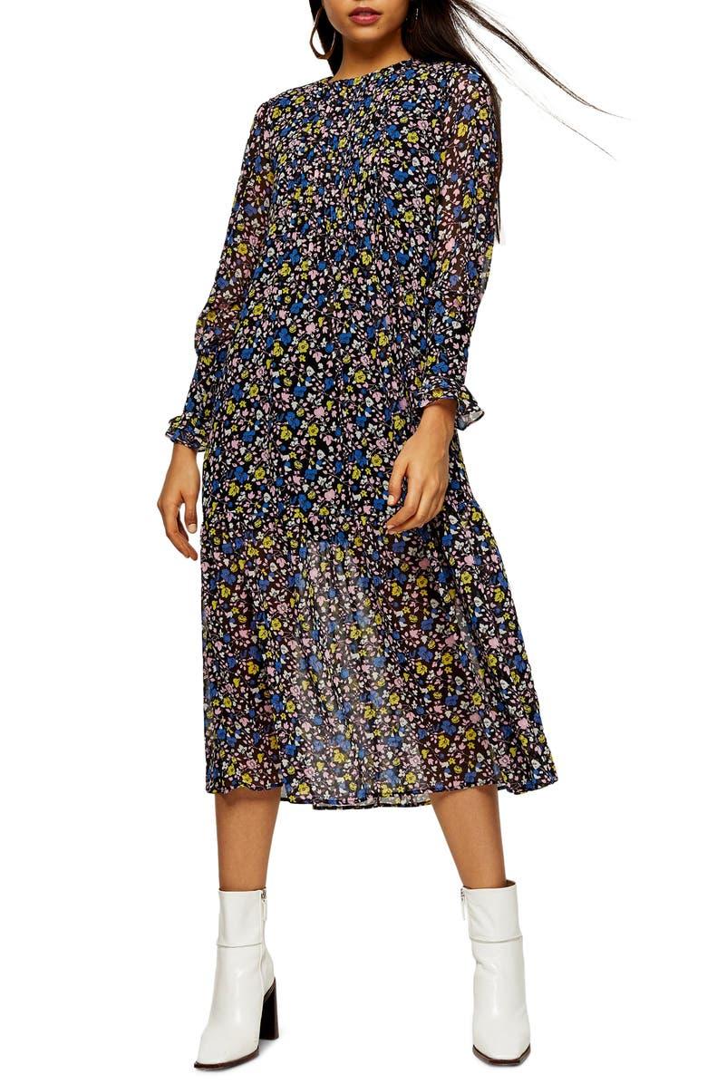 TOPSHOP Floral Print Long Sleeve Midi Dress, Main, color, 400