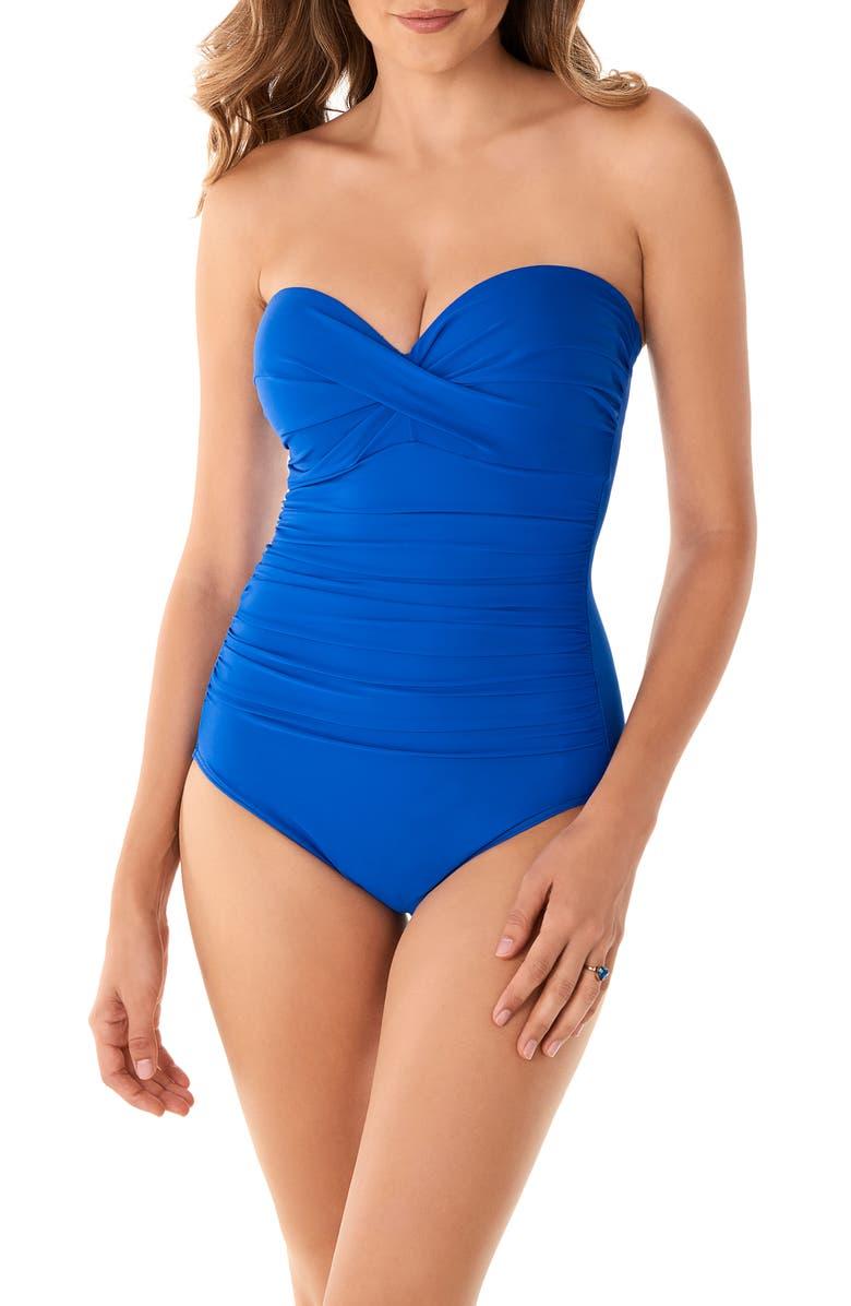 MIRACLESUIT<SUP>®</SUP> Rock Solid Madrid Bandeau One-Piece Swimsuit, Main, color, DELPHINE - DPN