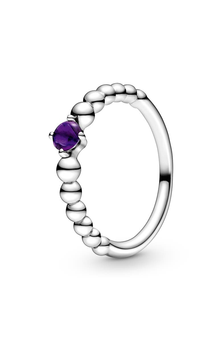 PANDORA Purple Beaded Stacking Ring, Main, color, SILVER/ TREATED PURPLE TOPAZ