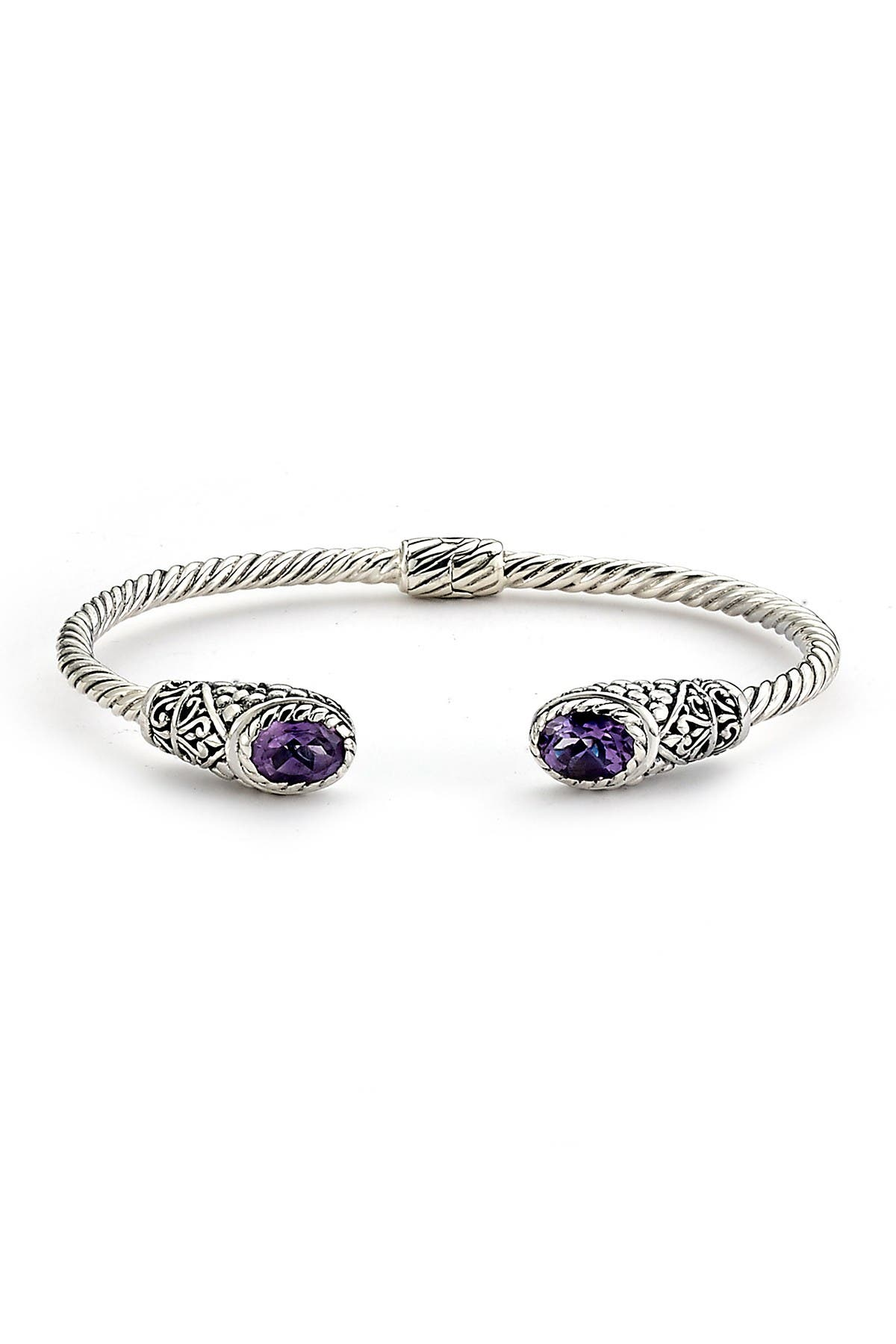 Image of Samuel B Jewelry Sterling Silver Twisted Cable Oval Cut Amethyst Hinged Bangle