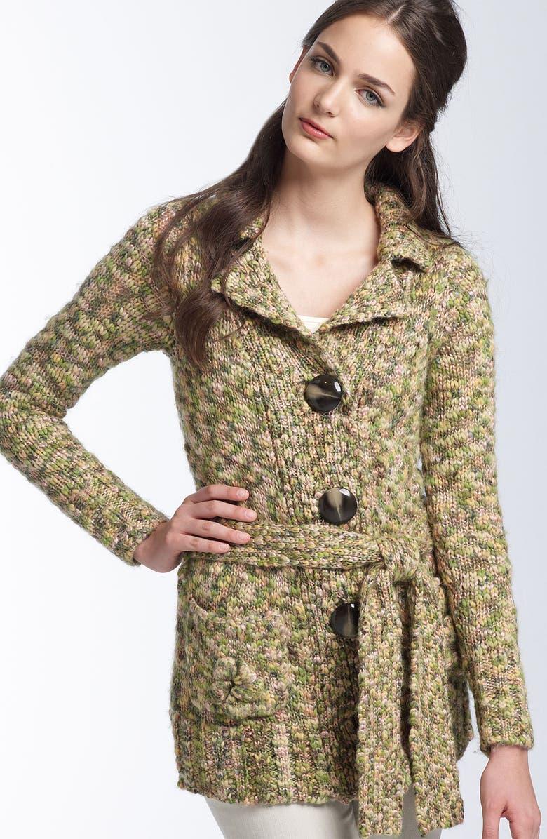 LEIFSDOTTIR Belted Mélange Sweater Coat, Main, color, 200