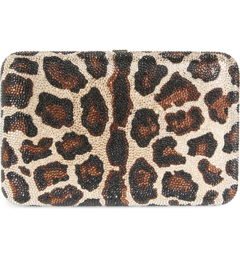 JUDITH LEIBER Crystal Leopard Box Clutch, Main, color, CHAMPAGNE MULTI