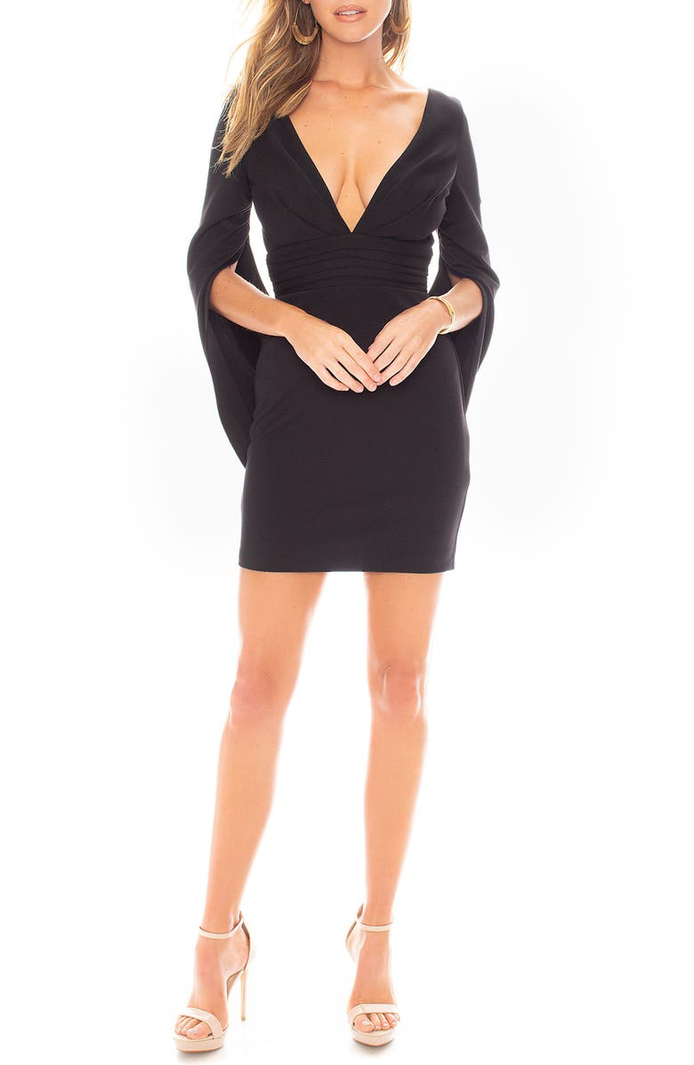 KATIE MAY Move Over Cape Sleeve Minidress, Main, color, BLACK